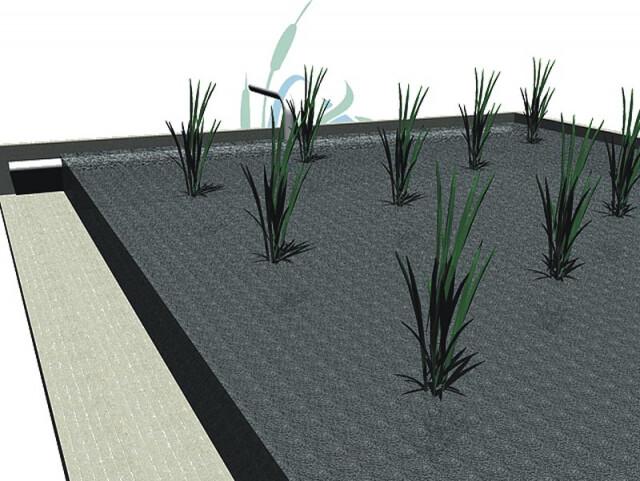Detalle distribución de un humedal horizontal 3D