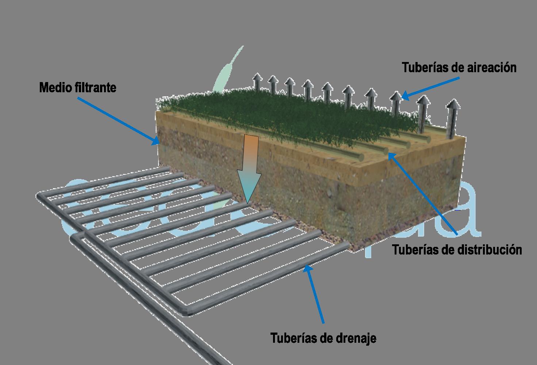 Esquema de un humedal de flujo vertical